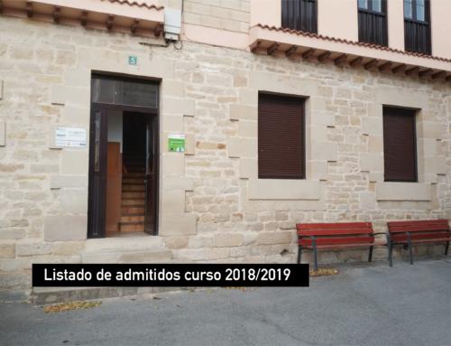 Listado de admitidos curso 2018/2019